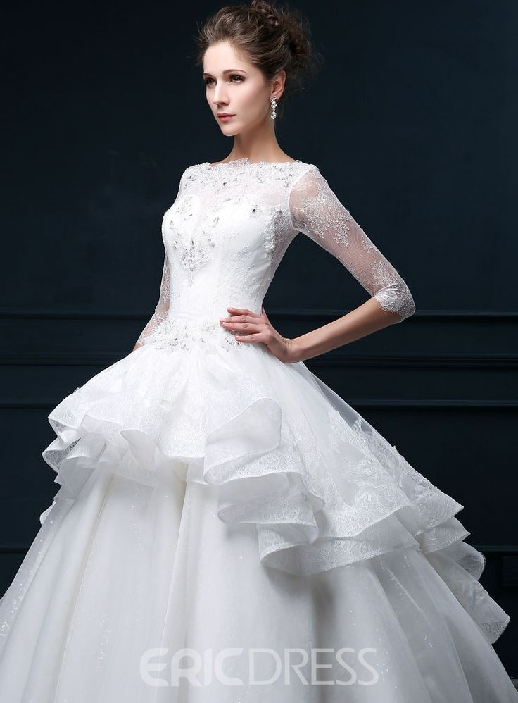 Bateau Lace Wedding Dress with Sleeves – Wizard of Oz