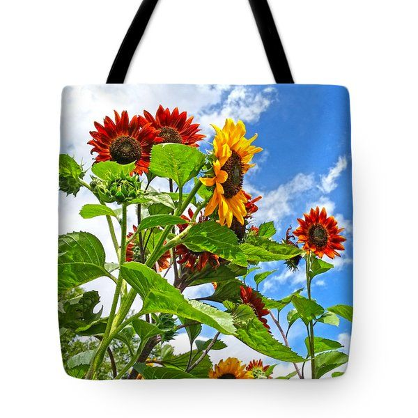 All Tote Bags - Rustic Sunflowers Tote Bag by Amanda Smith