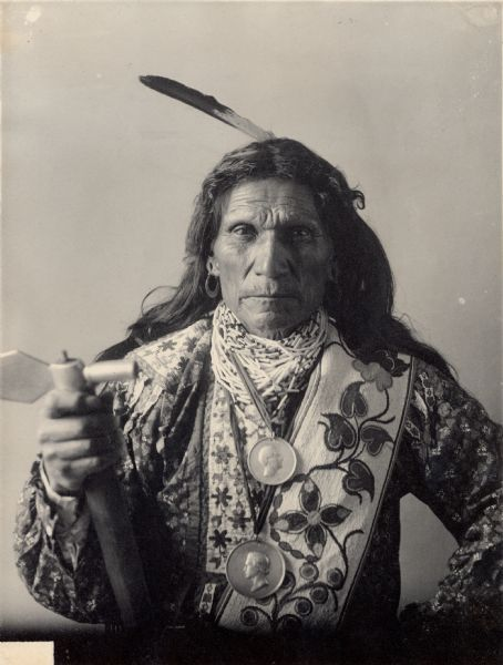 Portrait of Oto man, (George) Arkeketah, Head Chief. Part of Siouan (Sioux) and Otoe Tribes.