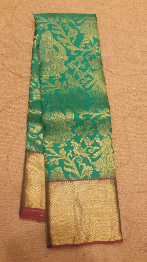 #designer #kanjivaram #silk #saree  in #rexonagreen color