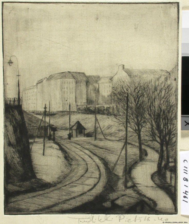 Kansallisgalleria - Taidekokoelmat - Rautatie (nähtynä Malminkadun päästä) Tuulikki Pietilä 1940