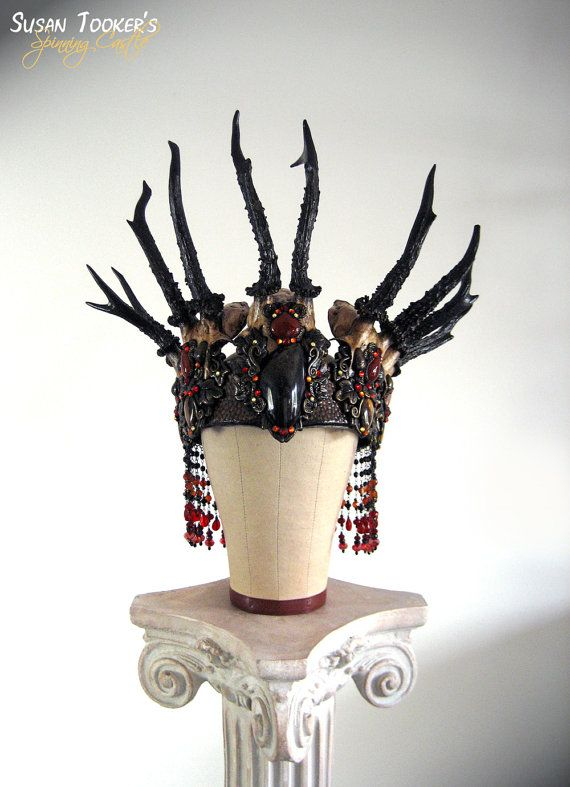 Witch Crown Antler Deer Skull Pagan Headdress Samhain Wiccan Ritual BLACK FOREST QUEEN by Spinning Castle