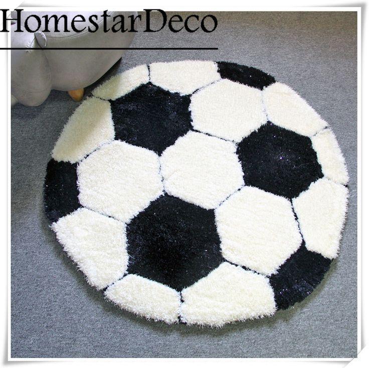 Logo Custom 3D Carpet Shaggy Round Rug Black and White Football Carpet Children Room Carpet Luxury Soft area Shag Rugs Play mat