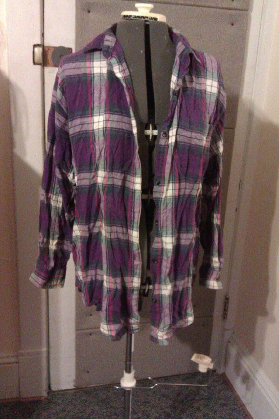 Oversized 90s grunge purple plaid shirt Plus by welcometotheend, $6.99