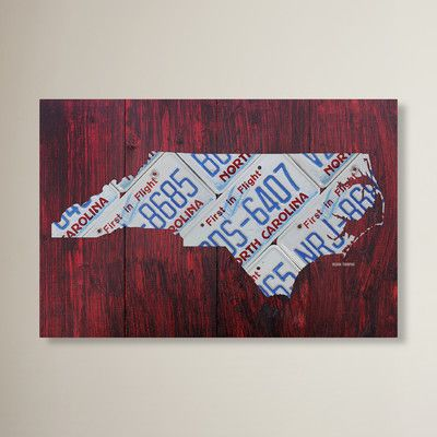 """Latitude Run North Carolina License Plate Map by Design Turnpike Graphic Art on Wrapped Canvas Size: 12"""" H x 19"""" W x 2"""" D"""