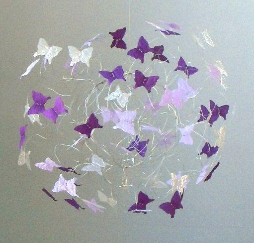 Kinderbett Zelle lila Schmetterling Kindergarten Kunstwerk hängen Schmetterling Handys fü …