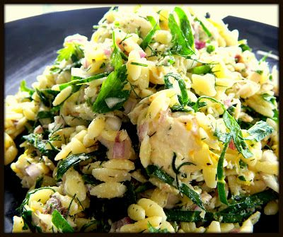 SMOKED FISH & ORZO PASTA SALAD WITH SPINACH, LEMON AND FETA.