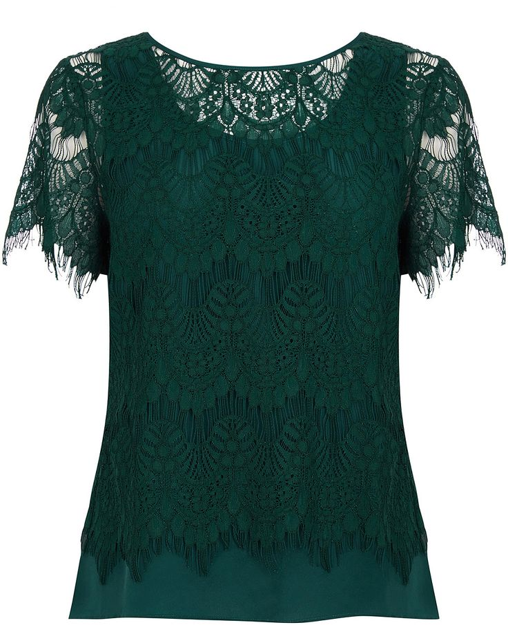Womens bottle green lace layer t shirt from Oasis - £36 at ClothingByColour.com