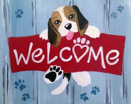 Learn to Paint Doggie Welcome II tonight at Paint Nite! Our artists know exactly how to teach painters of all levels - give it a try!
