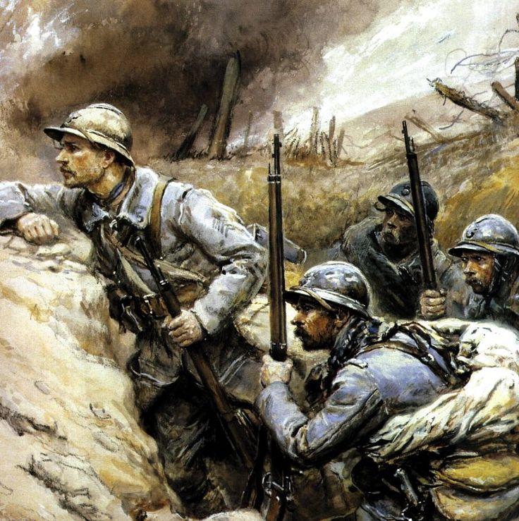 1. Dit schilderij laat een fysieke strijd zien. De soldaten schuilen achter een berm, en kijken uit naar het volgende gevecht. 2. De strijd wordt weergeven door de zwarte rook in de achtergrond, de soldaten en de wapens. De soldaten staan op de voorgrond en wordt verspreid over het doek. In de achtergrond is een leeg land, een slagveld.
