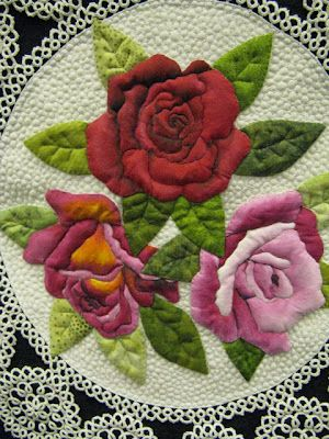 Stunning Applique.     Vintage Roses  by Barbara Polston  Quilted by Terri Doyle