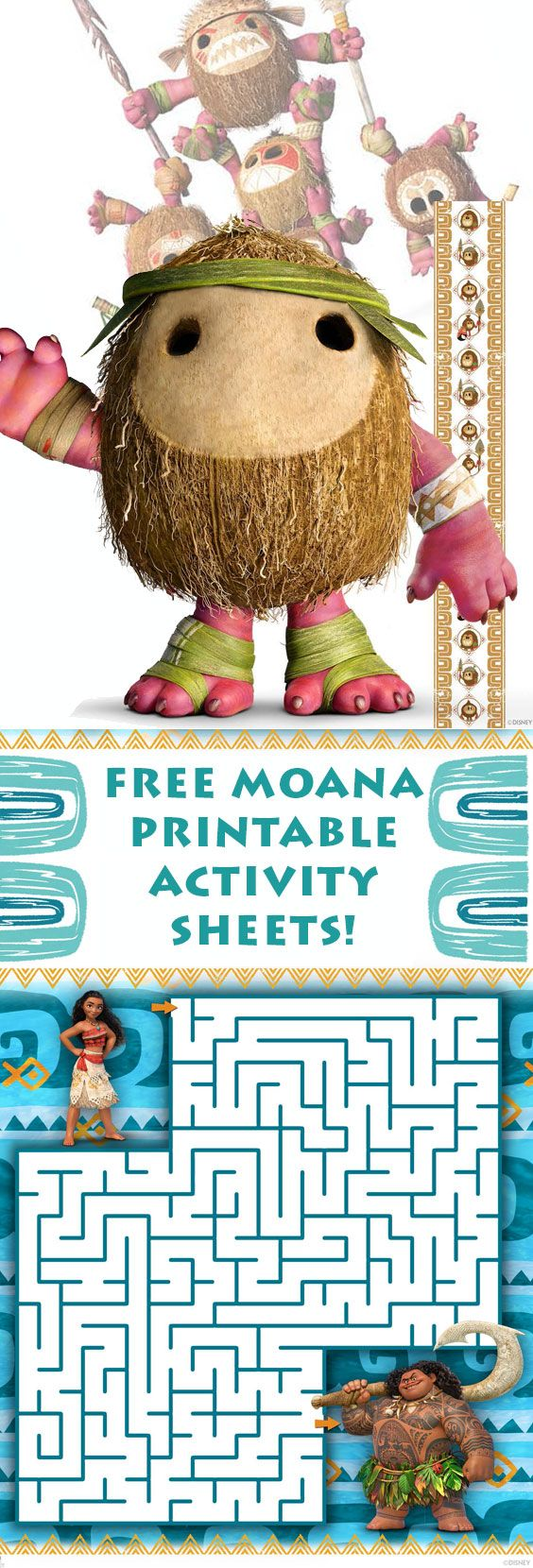 free moana printable activity sheets!