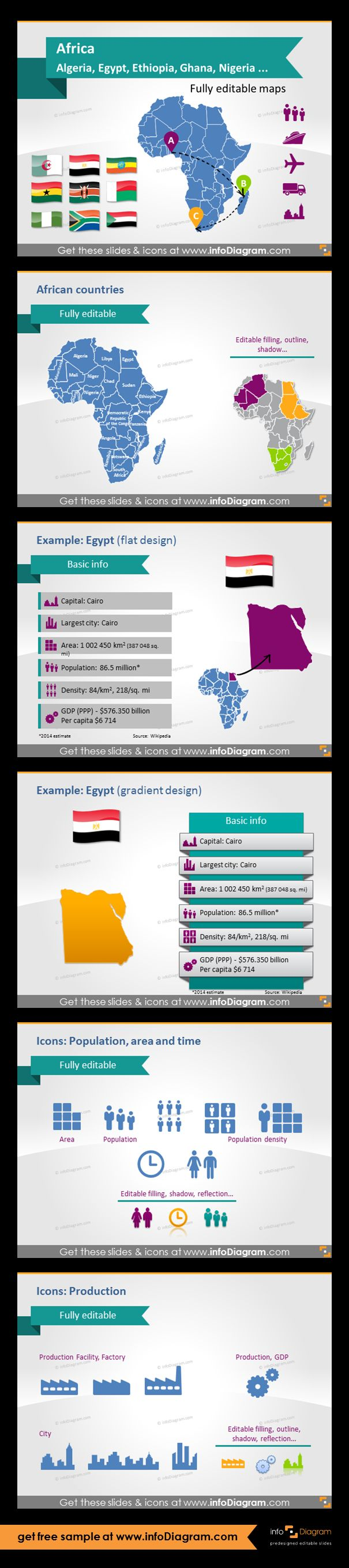 Africa countries - editable PowerPoint maps, localization and transport icons, country statistics. Fully editable maps, icons, arrows. Country statistics data: Population, Density, Area, GDP, Largest city, Capital. Icons for showing population, area, time and production.