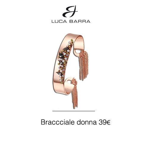 Bracciale in metallo con bagno in oro rosa e cristalli verdi e bianchi Luca Barra Gioielli. #braccialedonna #lucabarra #newcollection #style #fashion #tendenzemoda