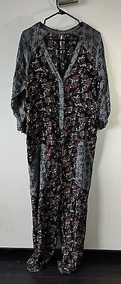 Free People Floral Jumpsuit S Long Sleeve Romper One Piece Hippie Boho Festival
