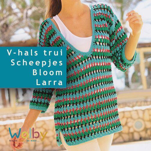 Het patroon van deze mooie V-hals trui komt uit Scheepjes 'Mijn Style' no. 2. Het patroon is gemaakt van een dubbele draad Larra, kan hierdoor ook met een enkele draad Bloom gehaakt worden.  Het boek 'Mijn Style' staat vol met zomerse patronen.