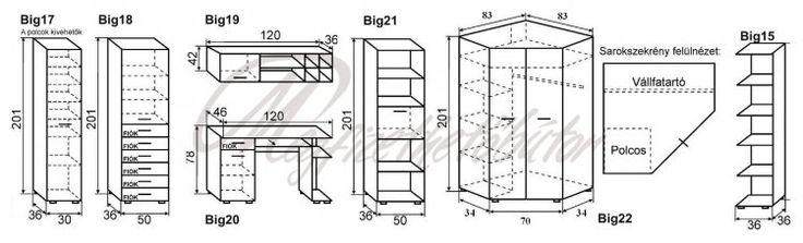 Big-Junior szekrénysor 333x119 cm - 107,442Ft : Bútor országos házhozszállítással - Megfizethetőbútor