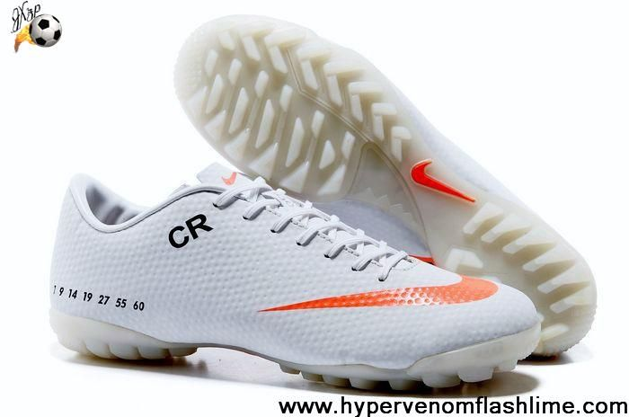 Cheap Discount White Orange Nike Mercurial CR7 TF Soccer Boots For Sale