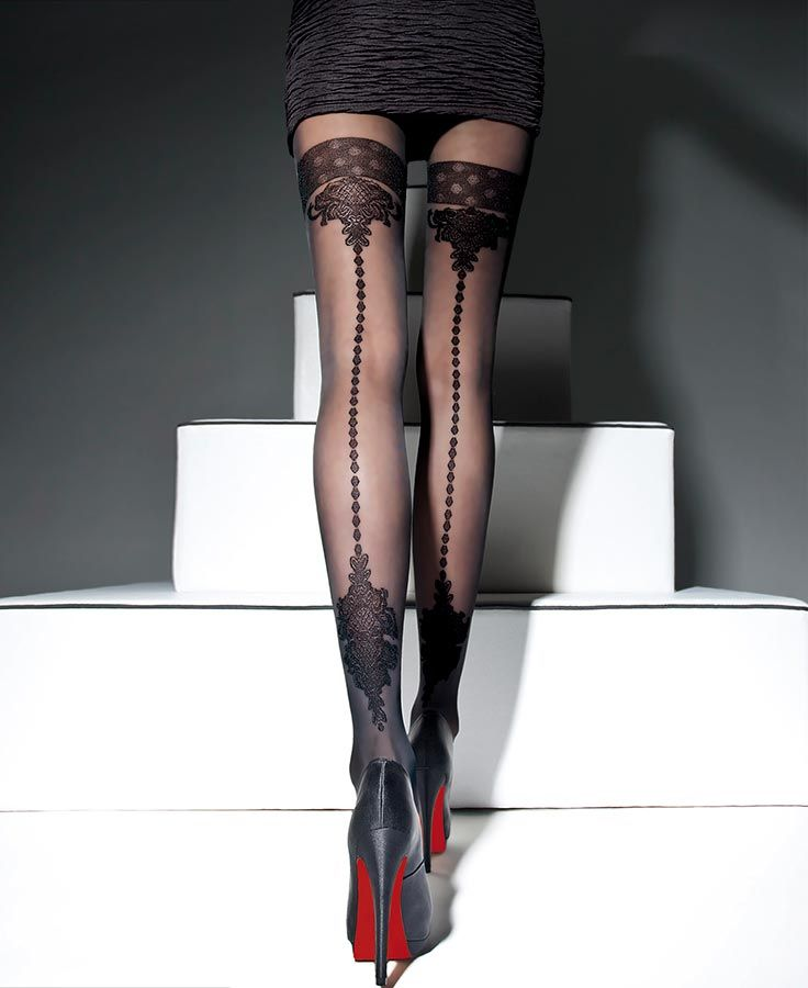 Visually arresting #hosiery with a vertical back seam and thrilling design.  #Fantasylingerie Fantasylingerie.com.au