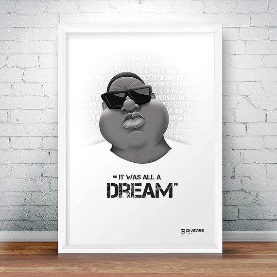 Check out this item in my Etsy shop https://www.etsy.com/uk/listing/466692991/notorious-big-it-was-all-a-dream-a4