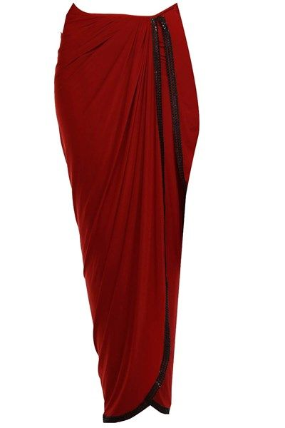 Sarees, Sarees, Clothing, Carma, Red and black sequined draped two piece dhoti saree