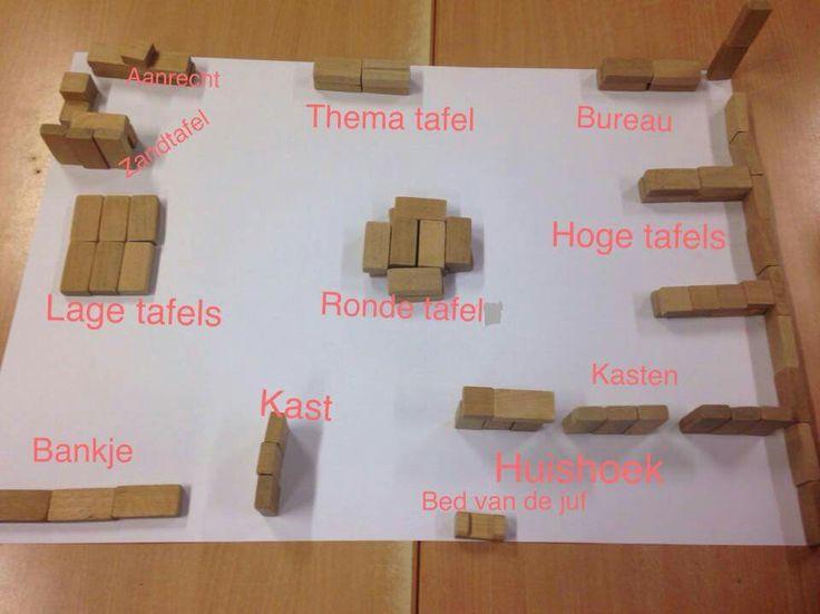 Voor HB, maak met blokjes de plattegrond van het lokaal