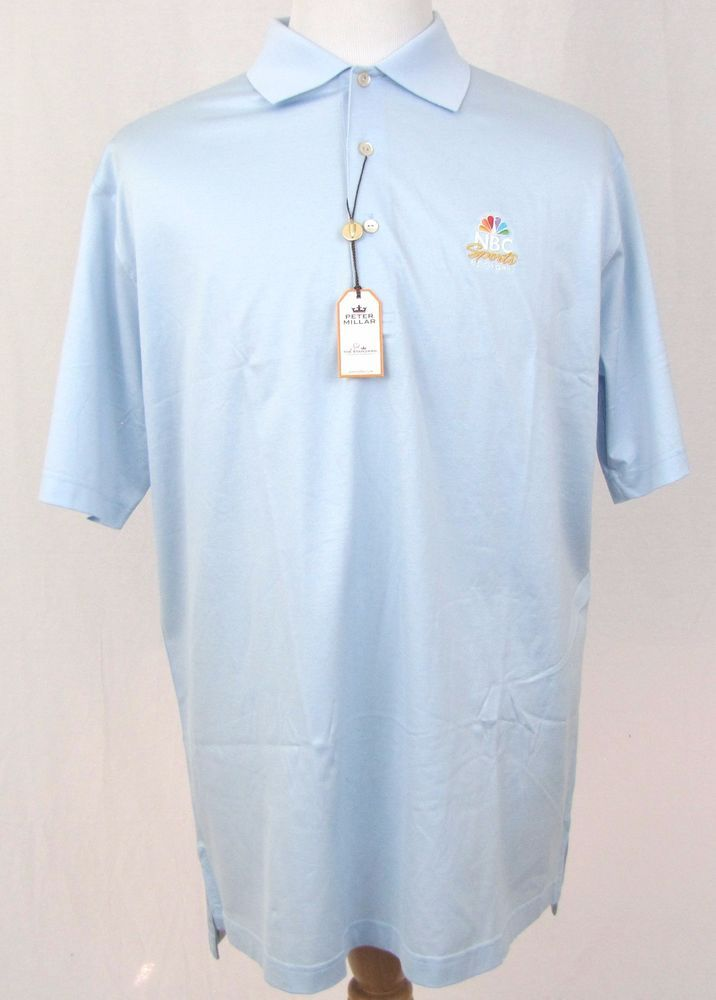 Peter Millar Shirt Large Golf Polo NBC Sports Network Tarheel Blue Cotton NEW #PeterMillar #PoloRugby