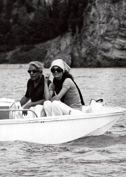 Aristotle & Jackie Onassis sailing at Scorpios island ~ 1969