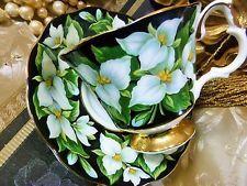 ROYAL ALBERT tea cup and saucer ~PROVINCIAL FLOWERS~TRILLIUM FLOWERS BLACK