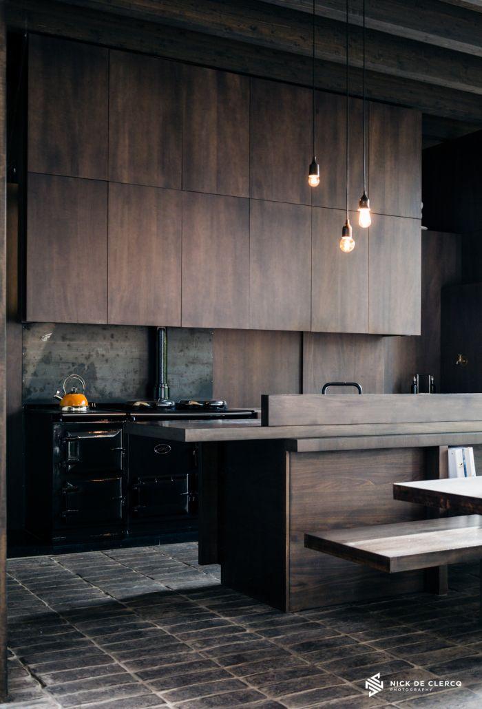 dark wood kitchen   Interiors by Nick De Clercq   Belgium & Nova Scotia