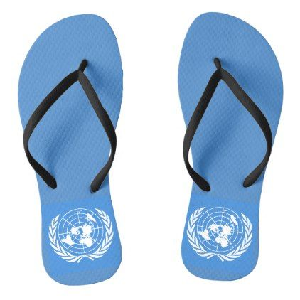 #UN Flag Flip Flops - #womens #shoes #womensshoes #custom #cool