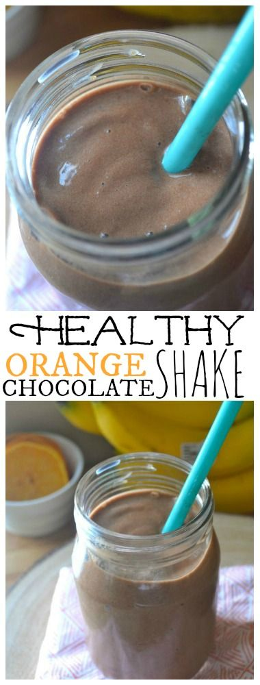 Healthy Orange Chocolate Shake.  No Added Sugar and can be easily made vegan.