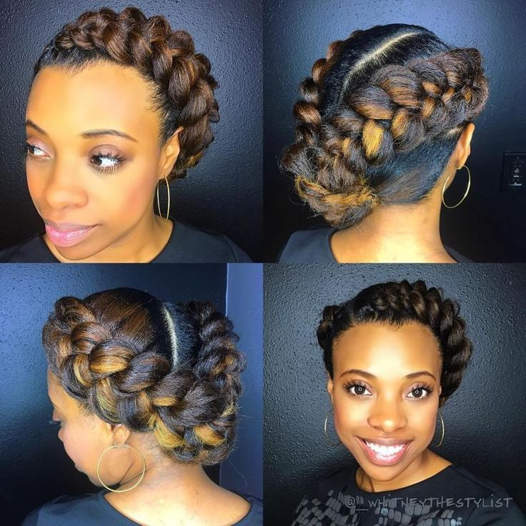 Asymmetrical Halo Braid With Highlights Protective Hairstyles For Natural Hair Natural Hair Styles Side Bun Updo
