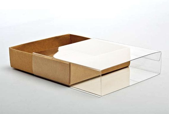 5 Flat Kraft Paper Box Bases with Clear Sleeves 4 1/2 by wrapworks …