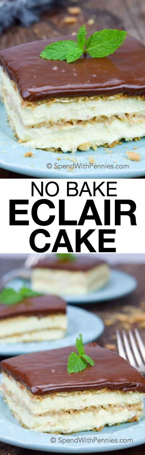 Easy no bake Eclair Cake made with cool whip and graham crackers is always a hit! The creamy cake pairs well with the simple chocolate glaze