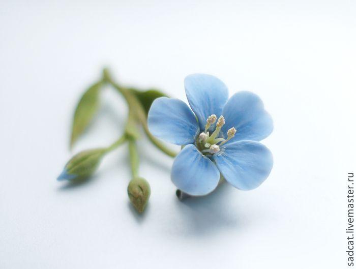 Купить Брошь с цветком льна из полимерной глины - голубой, брошь с цветком, брошь с голубым цветком