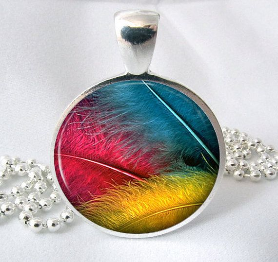 Bright Feather Resin Jewelry Pendant Feather by PishPoshPendants, $8.95