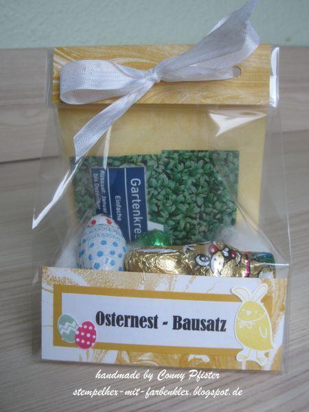 Stempelhex-mit-Farbenklex: Osternest-Bausatz