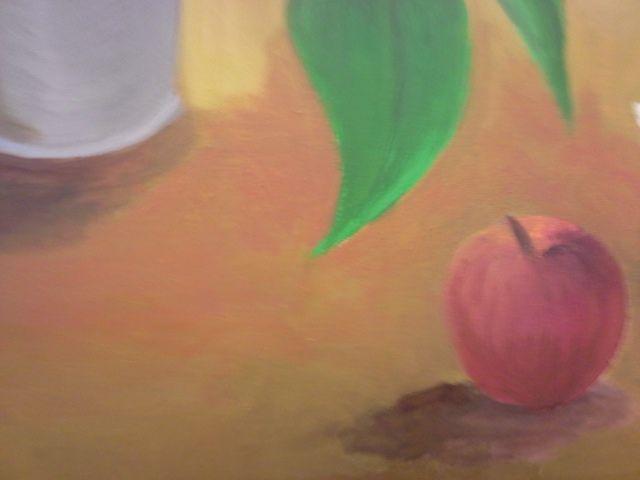 Onderzoek drager en appel mimetisch werk. Ik heb warmere kleuren (rood & oranje) toegevoegd in het centrum van het vlak om een focus te hebben op het schilderij. De slagschaduw van de appel heb ik ook aangezet.