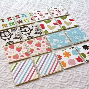 matching game out of chipboard and scrapbook paper, how clever!!!!