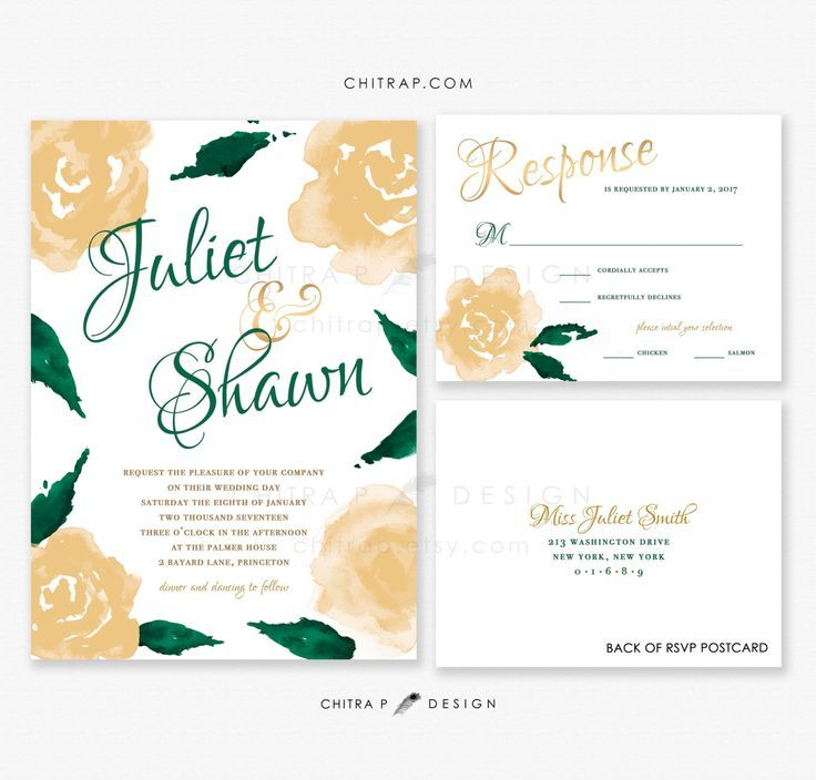 Green Gold Wedding Invitations & RSVP Cards - Printed, White Watercolor Irish Whimsical Emerald Jade St Patricks Day Floral Rustic - SHOP : chitrap.etsy.com