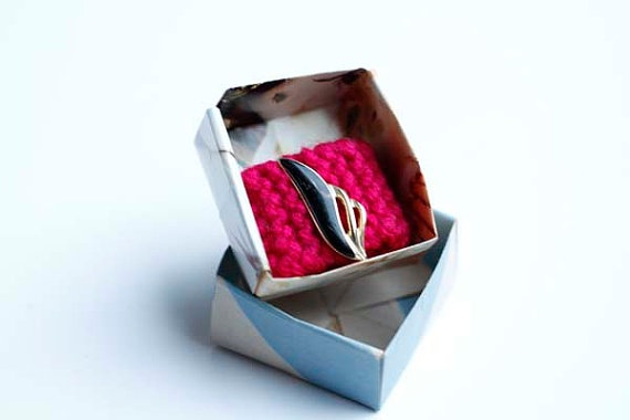 Knitted Ring Pink with Art Deco Charm by blessyourcottonsocks, $5.00