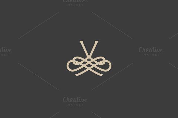 Elegant flower logo premium letter V by iamguru on Creative Market