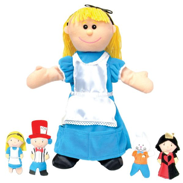 Alice in Wonderland Puppet-The Alice in Wonderland tellatale hand puppet is great for bringing story time to life. A beautifully designed quality fabric hand puppet with fine detailing. Complete with Giant Alice, Small Alice, Rabbit, Mad Hatter and Queen of Hearts. An all-in-one story telling puppet that will have your little ones delighted. #fingerpuppets #handpuppets #forkids