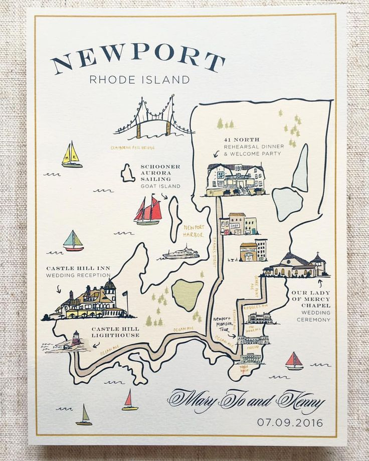 Custom Illustrated Map, Wedding Map, Illustration, Welcome Bag, Wedding Welcome Bag, Saratoga Springs, Wedding Details, Newport Wedding, Newport Rhode Island #welcomebag #weddingmap #illustratedmap