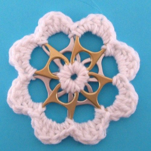 White Recycled Silver and Gold Can Tab Christmas Flower Ornament | SuzanneMedrano - Seasonal on ArtFire