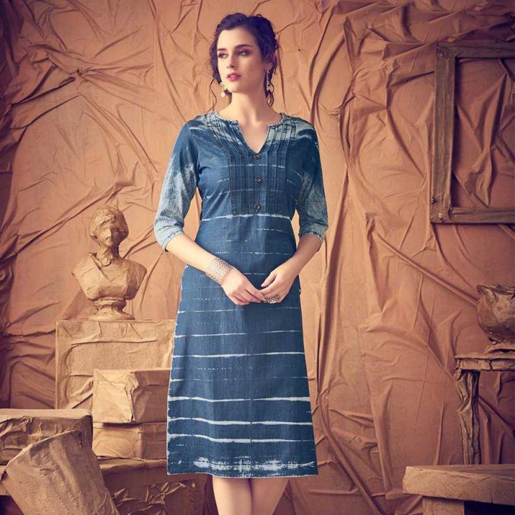 Denim Blue Stitched Designer Kurti #denimkurtis #designerkurtis #washed #shopping #fashion #style #kurtis #womensclothing
