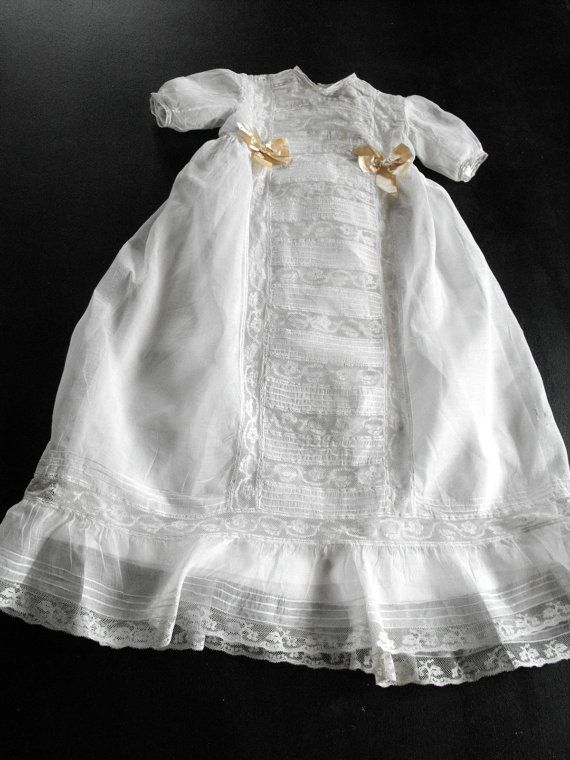 Vintage Christening Gown French Handmade of Organdy and Lace