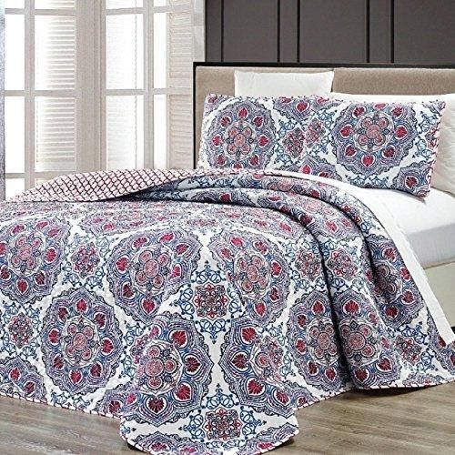Red Medallion Pattern Bedspread Queen Set Oversized Madala Floral Textured Bohemian Geometric Bedding Abstract Bold Colors Unisex