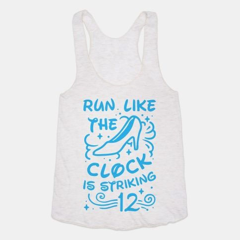 Watch the clock because it's going to strike midnight soon and you have to get running. Trade out your glass slippers for running shoes because you need to get going with this classic princess tale runner's t shirt design.